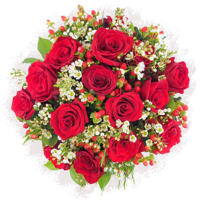 Suflet pereche - Buchet cu trandafiri rosii, hypericum si waxflower