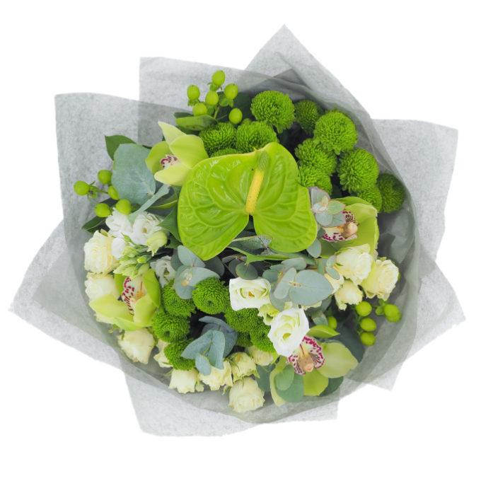 Verde tropical: buchet cu anthurium verde