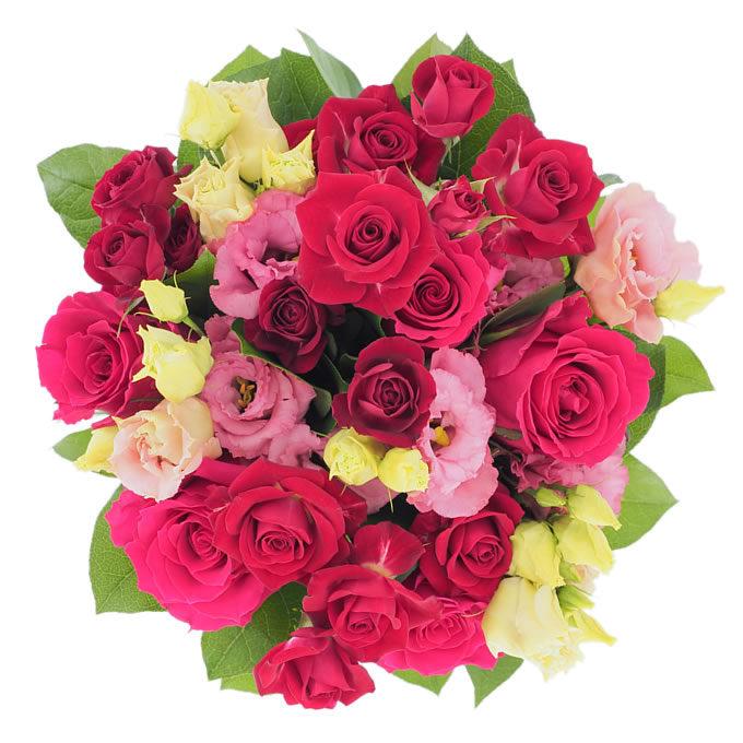 Buchet cu trandafiri, minirosa și lisianthus