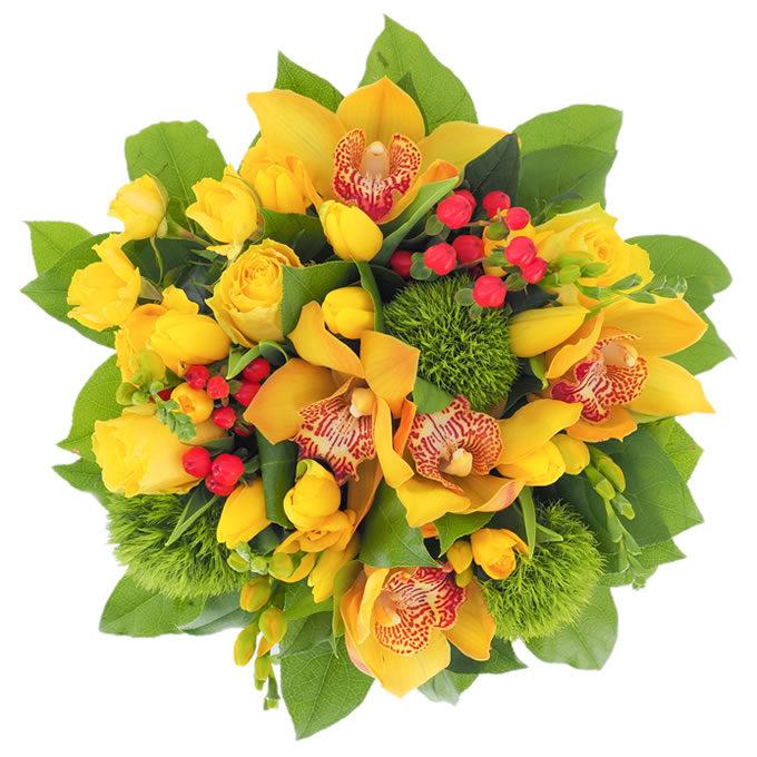 Galben aprins - buchet cu flori galbene, verzi și roșii