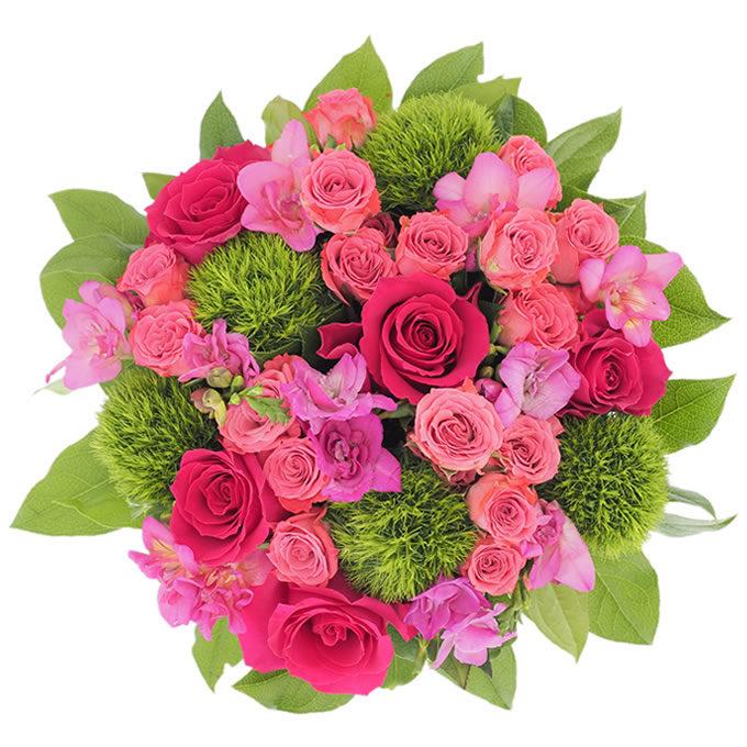 Buchet cu frezii, trandafiri, minirosa și greentrick