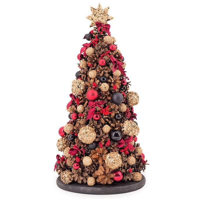 Brăduț decorativ de Crăciun împodobit cu globuri