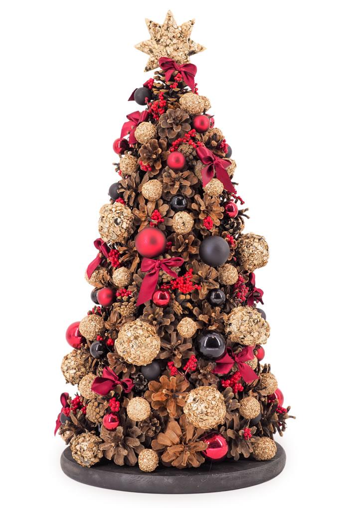 Brăduț decorativ de Crăciun cu globuri aurii, roșii și negre