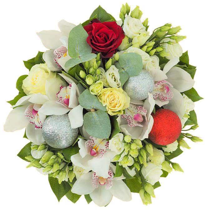 Buchet cu flori albe și globuri de Crăciun