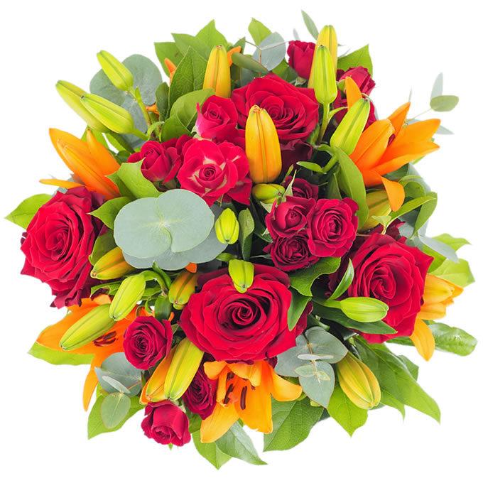 Buchet cu crini, trandafiri și minirosa