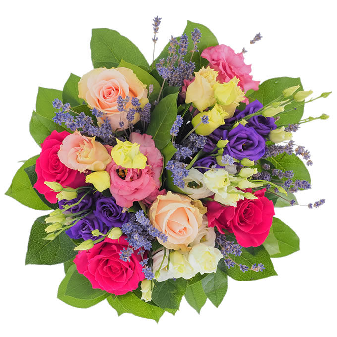 Buchet de flori cu trandafiri, lisianthus și lavandă