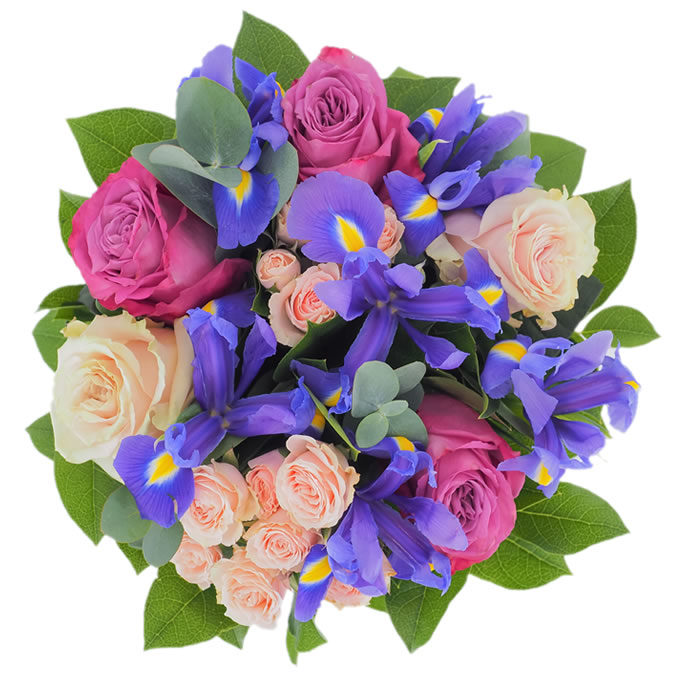Buchet cu trandafiri, minirosa și iriși
