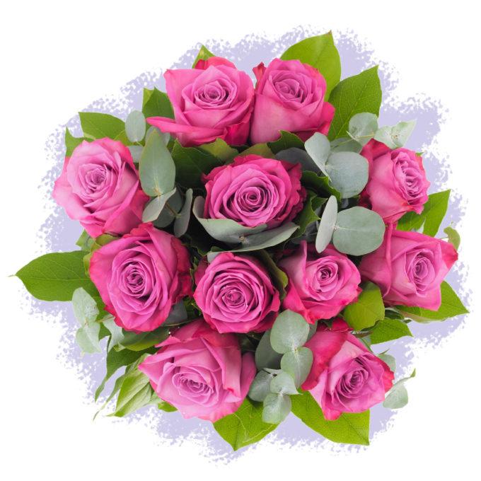 Buchet cu 11 trandafiri mov