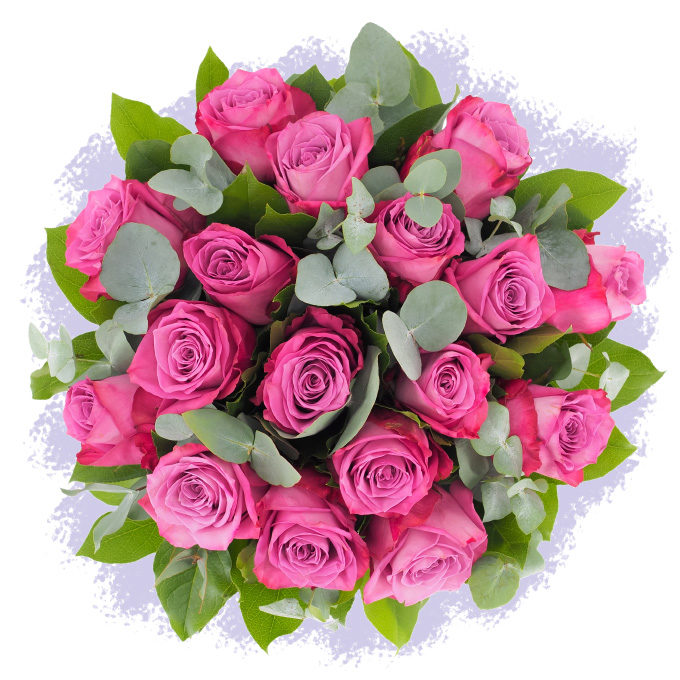 Buchet cu 17 trandafiri mov
