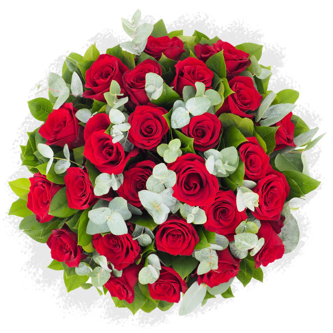 Buchet cu 25 de trandafiri roșii