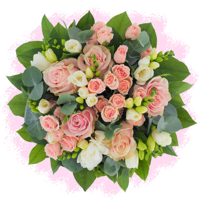 Buchet cu frezii, trandafiri și minirosa