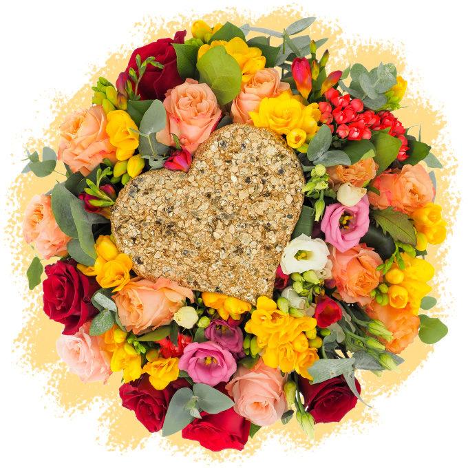Inimă de aur: buchet pentru Ziua Îndrăgostiților