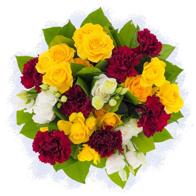 Buchet de flori cu garoafe visinii