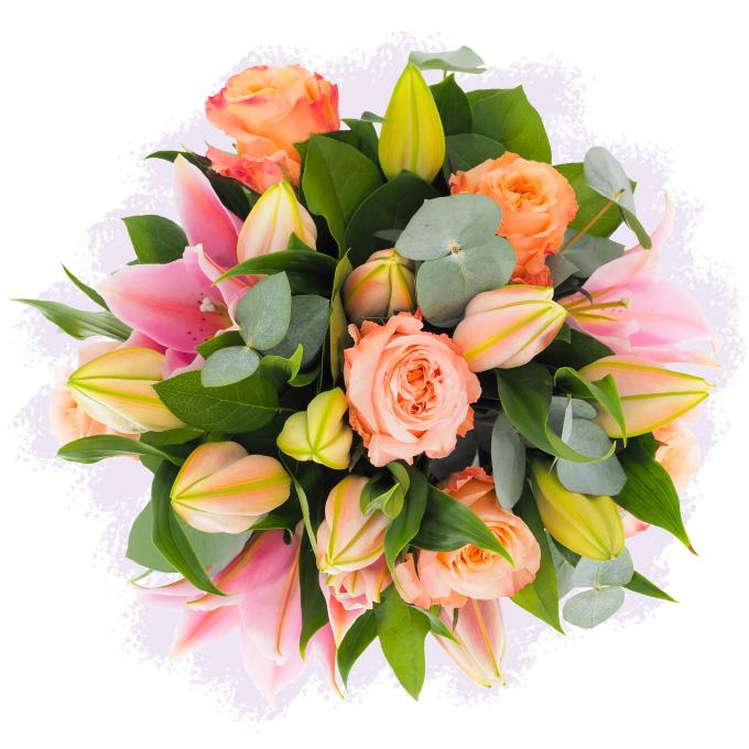 Buchet cu crini imperiali și trandafiri