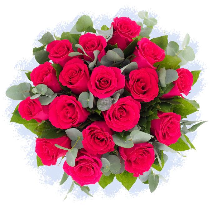 Buchet 17 trandafiri roz intens