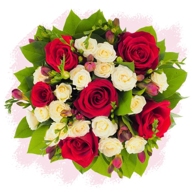 Oază de liniște - buchet cu trandafiri, miniroze și frezii